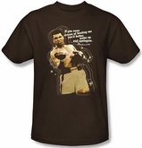 Muhammad Ali T-shirt Adult Apologize Brown Tee Shirt