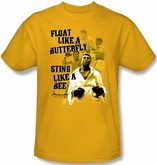Muhammad Ali T-shirt Adult Attitude Bee Gold Tee Shirt