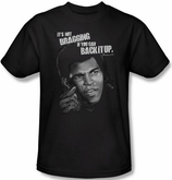 Muhammad Ali T-shirt Adult Back It Up Black Tee Shirt Tee Shirt