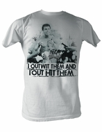 Muhammad Ali T-shirt Adult Outwit Out Hit White Tee Shirt