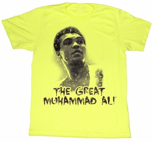 Muhammad Ali T-shirt Ali the Great Adult Yellow Tee Shirt