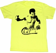 Muhammad Ali T-shirt Cassius Clay Adult Yellow Tee Shirt