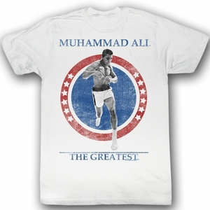 Muhammad Ali T-shirt Cross the Line Adult White Tee Shirt