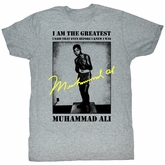 Muhammad Ali T-shirt Greatest Adult Grey Tee Shirt