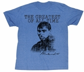 Muhammad Ali T-shirt Greatest of All Time Adult Blue Tee Shirt