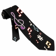 Music Notes Tie Black Silk - Mens Music Neck Tie