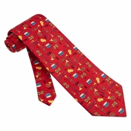 Musical Instruments Tie Red Silk Necktie - Mens Music Neck Tie