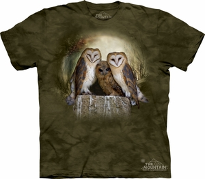 Owl Shirt Tie Dye Big Three Birds Of Prey Moon T-shirt Adult Tee