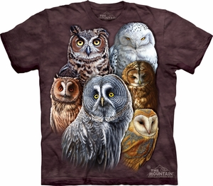 Owls Shirt Tie Dye Birds Collage T-shirt Adult Tee