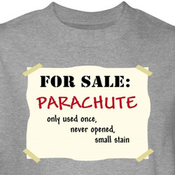 Parachute For Sale T-Shirt Used Once Never Opened Small Stain Grey Tee
