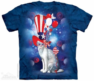 Patriotic Cat Shirt Tie Dye Adult T-Shirt Tee