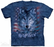Patriotic Wolf Shirt Tie Dye Adult T-Shirt Tee