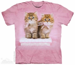 Pink Bow Kittens Shirt Tie Dye Adult T-Shirt Tee