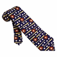Play Ball Tie Navy Blue Silk Necktie - Mens Sports Neck Tie