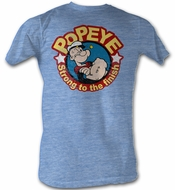 Popeye T shirt Strong To The Finish Adult Blue Heather Tee Shirt
