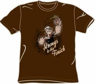 Popeye T-shirt Strongs To The Finich Funny Adult Brown Tee