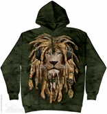 Rasta Lion Hoodie Tie Dye Adult Hooded Sweat Shirt Hoody