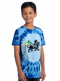 Rasta Lion Kids Shirt - Tie Dye Royal Blue Youth Tee