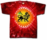 Rasta Lion Tye Dye Shirt - Adult Red Hot Sun Tee
