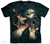 Reindeer Shirt Three Reindeer Moon T-shirt Tie Dye Adult Tee