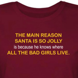 Santa Juniors Shirt Knows Where The Bad Girls Live Red Tee T-shirt