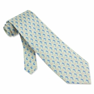 Seahorses Starfish Green Silk Tie Necktie Men's Animal Print Neck Tie