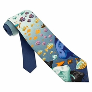Something's Fishy Silk Necktie - Men's Animal Print Neck Tie