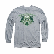 St. Patrick's Day Shirt Green Beer Long Sleeve Athletic Heather Tee T-Shirt