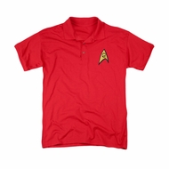Star Trek Embroidered Polo Shirt Engineering Patch Red
