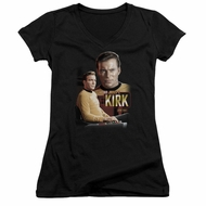Star Trek Juniors V-neck Shirt - Captain Kirk Trekkie Black Tee