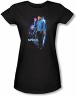 Star Trek Juniors Shirt - Galactic Spock Black Tee