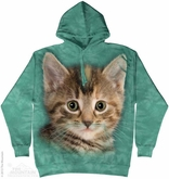Striped Kitten Hoodie Tie Dye Adult Hooded Sweat Shirt Hoody