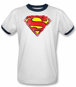 Superman Logo Ringer Shirt Distressed Shield White/Navy T-Shirt Tee