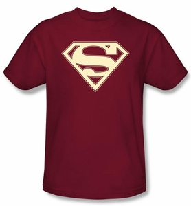 Superman Logo Shirt Crimson and Cream Shield Cardinal Red T-Shirt
