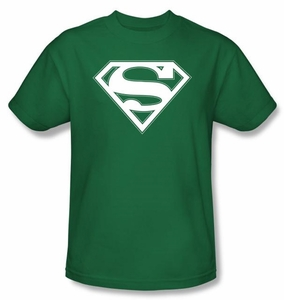 Superman Logo Shirt Green and White College Kelly Green T-Shirt Tee