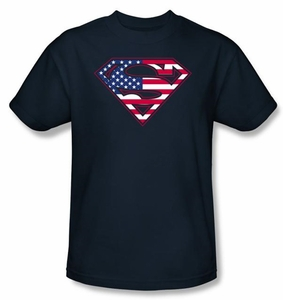 Superman Logo Shirt USA Patriotic Flag Shield Navy Blue T-Shirt Tee