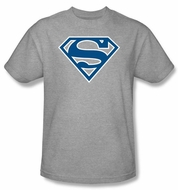 Superman Logo T-shirt Blue And White College Heather Gray Tee Shirt