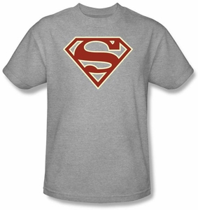 Superman Logo T-shirt Crimson and Cream Shield Adult Gray Tee Shirt