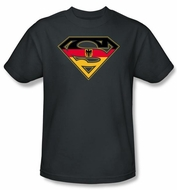Superman Logo T-shirt German Shield Adult Charcoal Gray Tee Shirt