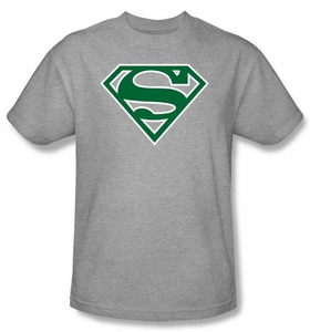 Superman Logo T-shirt Green and White College Heather Gray Tee Shirt
