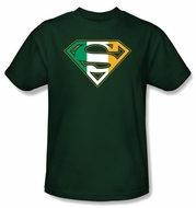 Superman Logo T-shirt Irish Shield Ireland Hunter Green Tee Shirt