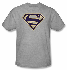 Superman Logo T-shirt Navy And Gold Shield Adult Tee Shirt