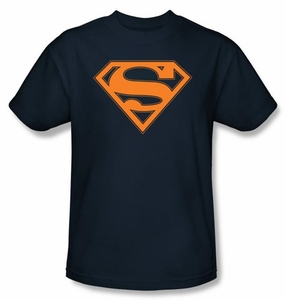 Superman Logo T-Shirt Navy and Orange Shield Adult Navy Blue Tee Shirt