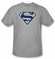 Superman Logo T-shirt Navy and White Shield Adult Gray Tee Shirt