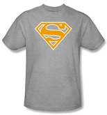 Superman Logo T-shirt Orange and White Shield Adult Gray Tee