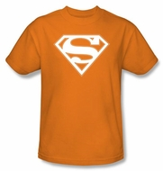 Superman Logo T-shirt Orange and White Shield Adult Orange Tee Shirt