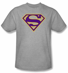 Superman Logo T-shirt Purple And Gold Shield Adult Grey Tee Shirt