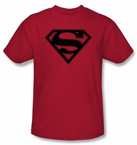 Superman Logo T-shirt Red and Black Shield Red Adult Tee Shirt