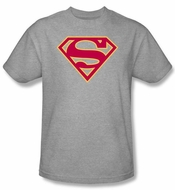 Superman Logo T-shirt Red and Gold Shield Adult Gray Tee Shirt