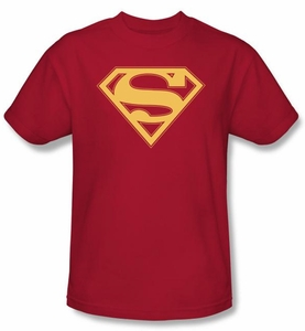 Superman Logo T-Shirt Red And Gold Shield Adult Red Tee Shirt